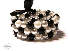 Memory Wire Bracelet  Black White Grey Wrap Coil by ElwynJewelry, $17.95