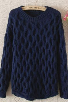 Navy Round Neck Long Sleeve Sweater Our Price:$ 30.99
