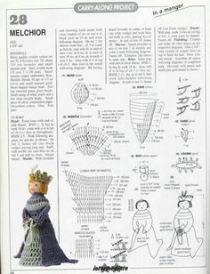 Crochet Christmas Ornaments, Christmas Knitting Patterns, Holiday Crochet, Christmas Crafts, Crochet Fairy, Crochet Angels, Crochet Chart, Crochet Patterns Amigurumi, Knitted Dolls