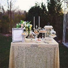 Rectangular Sequin Tablecloth from Knot and nest. various sizes. 90 by 132 on sale for $89.99