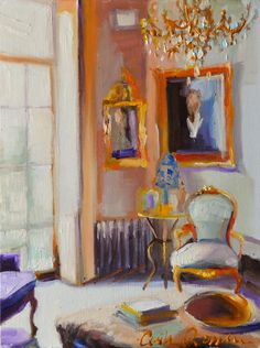 FRANSE VOORHUIS is an art print of an original painting of a beautiful French sitting room with a warm window scene that sets off a sunlit room. This interior scene begs you to rest for awhile and enjoy!  This listing is for:  An exactly 8.5 x 11 paper print  This is a print of the original oil painting Ive done. Its printed on heavyweight high-quality card stock paper, sealed and well packaged for protection.  I have such a passion for painting French style interiors, flowers and people…