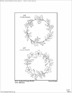 More rose bud/forget-me-not and wild rose flower circle embroidery patterns