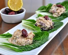 Kalamata Tuna Salad Bok Choy Wraps, tuna salad made with olives wrapped in peppery bok choy leaves. #HighProtein #LowCarb #GlutenFree Paleo, Whole30 friendly. For Weight Watchers, just #PP2 or #PP3.
