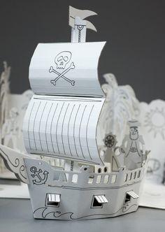 Port Piratów - zabawka z tektury do składania - Burumamba #karton #mikołajki #zabawki #zabawkizkartonu #piraci #statek #statekpiracki #pirates #eko #eco #zabawkiekologiczne