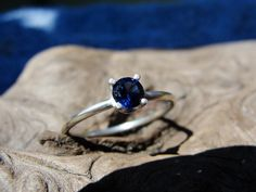 Blue Sapphire Sterling Silver Promise Ring