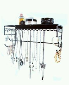 "Black 17"" Wall Mount Jewelry & Accessory Storage Rack Organizer Shelf New (ebay)"