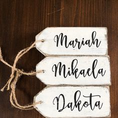 Wooden tags - ornaments - personalized tags - farmhouse / christmas signs /christmas decor / stocking tags / christmas tags / name tags /tag Wood Burning Stencils, Wood Names, Wooden Tags, Cursive Fonts, Personalized Tags, Small Gifts, Picture Show, Twine, One Pic