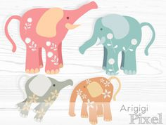 Elephant clip art flower patterned pastel colors by ArigigiPixel