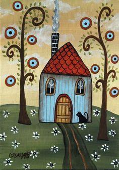 Yellow door inch canvas panel ORIG landscape painting PRIM folk art Karla G, . Primitive Folk Art, Primitive Stitchery, Primitive Patterns, Primitive Snowmen, Primitive Crafts, Wood Crafts, Karla Gerard, Illustration Photo, Naive Art
