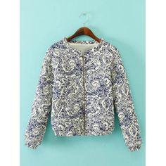 Vintage Jewel Neck Long Sleeves Printed Zippered Jacket For Women