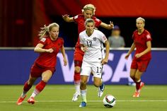 MONTREAL, QC - JUNE 30: Tobin Heath #17 of the United States moves the ball against Germany in the first half in the FIFA Women's World Cup 2015 Semi-Final Match at Olympic Stadium on June 30, 2015 in Montreal, Canada.