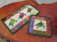 Set of 2 Batik Tie Dye  Sea Turtle Quilted Candle Mat Mug Rug Mini Quilt