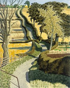 lawrenceleemagnuson: Simon Palmer (UK b. Drawing: Across the Ocre. Ink, watercolour and gouache. There's something very English in this illustration. I remember the Shell Book of the Countryside having similar countryside pictures. Landscape Art, Landscape Paintings, Uk Landscapes, Landscape Prints, Gmunden Austria, David Hockney, Photos, Pictures, Painting & Drawing