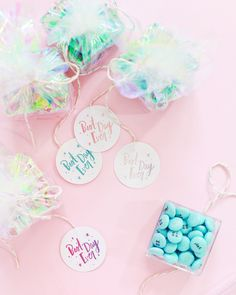 DIY iridescent wedding shower favors with colorful @mymms and Printable Party Favor Tags / Favor Tag Design by Swiss Cottage Designs / Oh So Beautiful Paper