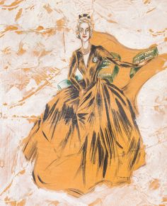 Portrait Of Elsie de Wolfe, Lady Mendl 1947 by Orry Kelly Orry Kelly, Elsie De Wolfe, Best Costume Design, Hollywood Costume, Victorian Era, Sketches, Princess Zelda, Black And White, Art Paintings