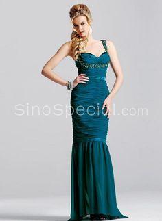 Charming Trumpet / Mermaid Straps Beadings Taffeta Evening Dress