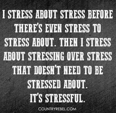 """""""""""I stress about stress before there's even stress to stress about. Then I stress about stressing over stress . Quotes To Live By, Me Quotes, Funny Quotes, Qoutes, Mistake Quotes, Work Quotes, Funny Humor, Quotations, Funny Stuff"""