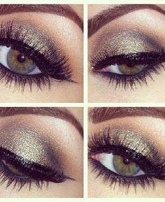 eye makeup, slate gray shadow with dark black eyliner!