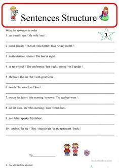 Simple Sentences Worksheet, Writing Sentences Worksheets, Grammar Sentences, Complex Sentences, English Grammar Worksheets, English Sentences, Reading Comprehension Worksheets, Sentence Writing, Teaching