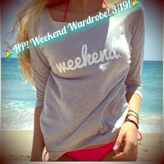 HP! WEEKEND GREY OFF THE SHOULDER SWEATSHIRT MED Adorable sweatshirt! Weekend. Says it all! Size medium, grey off the shoulder light weight sweatshirt.  FREE HOME!  TRADES &  OUTSIDE TRANSACTIONS - DON'T ASK! BUNDLE AND SAVE 20%!  Follow my closet ✋ NEW ITEMS ADDED DAILY! Posh compliant closet here! Happy POSHING ladies! ☀️ Tops Sweatshirts & Hoodies