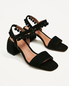 ZARA - WOMAN - LEATHER MID HEEL POMPOM SANDALS