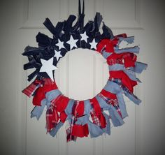 Patriotic Rag Wreath...dark & light jean, flannel & old shirt & stars.~ Red White Blue, 4th of July, Memorial Day, Holidays, USA, Rustic, Country, Primitive, DIY, Nailed It
