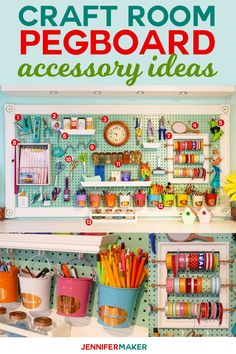 Craft Room Pegboard Accessory Ideas Jennifer Maker - DIY Home Decor Pegboard Craft Room, Sewing Room Organization, Craft Room Storage, Pegboard Storage, Pegboard Display, Kitchen Pegboard, Organization Ideas, Storage Ideas, Organized Craft Rooms