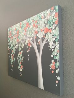 Mint Green and Peach Coral Art, Textured Tree, Nursery Art, Original Painting on Canvas, select your size Diy Canvas, Acrylic Painting Canvas, Diy Painting, Canvas Art, Canvas Size, Mint Nursery, Nursery Art, Nursery Wallpaper, Coral Art
