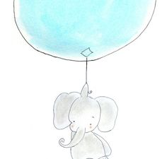 Baby Elephant Nursery Art Print, Childrens Nursery, Gray Sky Blue Balloon, 8x10 via Etsy