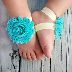 Baby Barefoot Sandals .. Turquoise Flower with Black Polka Dots .. Toddler Sandals .. Newborn Sandals. $6.50, via Etsy.