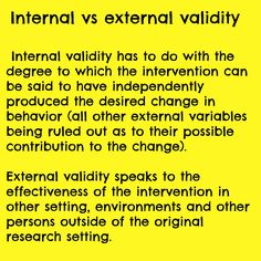Internal vs external validity