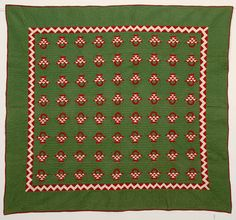 Baskets Quilt with Zig Zag Border: Circa 1880;Pa.
