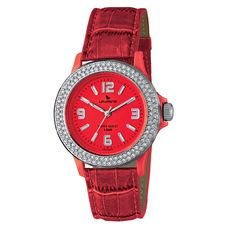 Laurens Italian Design Women's Red Leather Crystal Watch by Laurens