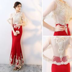Chic / Beautiful Red With Shawl Evening Dresses 2019 Trumpet / Mermaid Beading Rhinestone Lace Flower Scoop Neck Sleeveless Ankle Length Formal Dresses Evening Dresses, Prom Dresses, Formal Dresses, Fashion Dresses, Women's Fashion, Fashion Design, Model Kebaya, Lace Flowers, Ankle Length