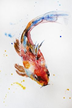Hey, I found this really awesome Etsy listing at https://www.etsy.com/listing/274849860/original-watercolor-painting-koi-fish