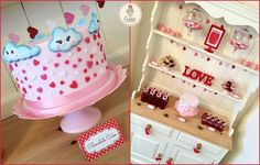 Valentine's Day Dessert Table! ❤️ #kawaii #kawaiicake #kawaiiclouds #chocolatecake #loveisintheair