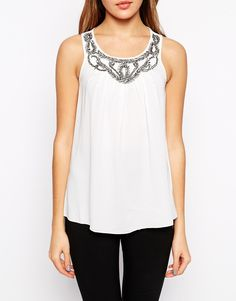 Image 3 of b.Young Sleeveless Tank With Embroidered Neckline