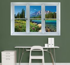Banff Mountains In Bloom Instant Window Fathead Wall Decal