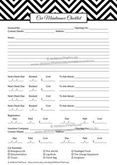 Vehicle Care Log  Printable Pdf Form For Car Maintenance