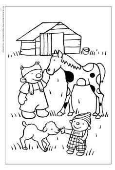 Download deze leuke kleurplaat met boerderijdieren op onze website | Zwijsen Hand Embroidery, Machine Embroidery, Coloring Books, Coloring Pages, Story Stones, Work Inspiration, Early Learning, Dory, Preschool