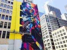 """Quero ir para Chicago: Eduardo Kobra finaliza nos EUA o mural Muddy Waters, o """"Pai do Chicago Blues"""""""