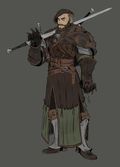 character art my bear Bern as a Witcher o/ School of Bear of course, haha Fantasy Character Design, Character Creation, Character Design Inspiration, Character Concept, Character Art, Concept Art, Dungeons And Dragons Characters, D D Characters, Fantasy Characters