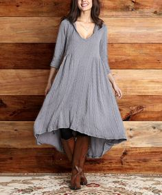 Loving this Gray Cable-Knit Hooded Hi-Low Dress on #zulily! #zulilyfinds