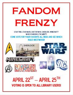 The Westwood Public LIbrary is hosting our own ✭✭COMIC CON✭✭ during vacation week. Come show off your fandom by voting for your favorite comic and/or sic-fi series...
