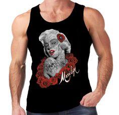Velocitee Mens Vest Marilyn Monroe Los Meurtos Tattoo Jerry Hardy Zombie W15729 #Velocitee