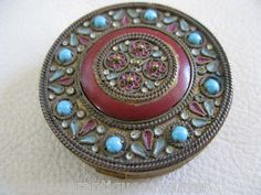 Antique France French Victorian Edwardian Enamel Champleve Jeweled Compact