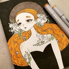 inktober 14 @inktober #inktober #inkedup #inkgirls #tattoo #copic #micron #freckles
