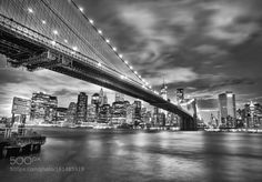 Brooklyn bridge by AndrewJennings1  city water river travel architecture cityscape bridge building monochrome skyline skyscraper New Yor