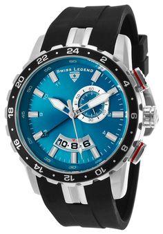 Swiss Legend 10134-03 Watches,Delta GMT Black Silicone Blue Dial, Fashion Swiss Legend Quartz Watches