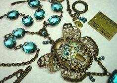 . steampunk butterfli, brass necklac, steampunk jewelri, butterfli aqua, aqua glass